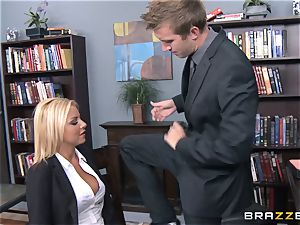 Britney Shannon pulverizes her anxious manager in his office